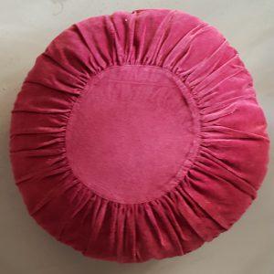 Madam Stoltz Round Velvet Cushion Bordeaux