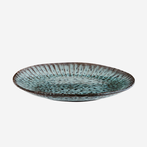 Stoneware lunchplate - Green/Black