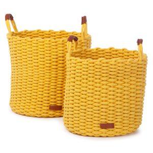 Korbo mand L geel set van 2 stuks