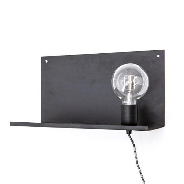 By-Boo Wandlamp 'Hyde' met plankje 38cm, kleur zwart