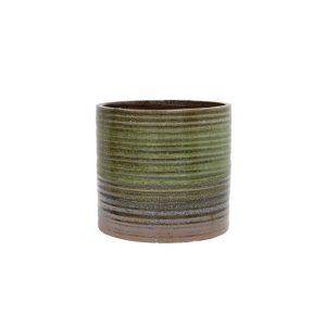 Bloempot Keramiek - Groen / Bruin
