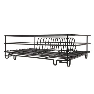 Metal wire dish rack matt black