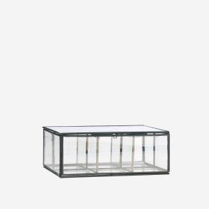 Metalen glazen kistje met vakjes