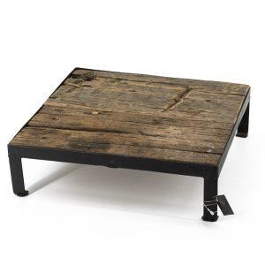 Houten tray met ijzer vierkant