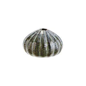 Aardewerk zeeëgel vaasje - groen